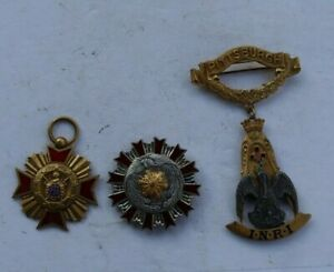 LOT Vintage Medals INRI Religious Gold Filled Eagle Military Molay Masonic 1925