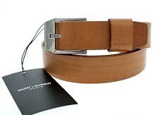 YSL Saint Laurent Rider Belt Leather Brown Large Size 105cm/42 New