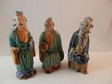 "Vintage Chinese Mudmen lot of 3 men  Glazed 3"" - 4"""