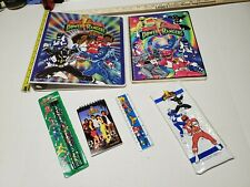 POWER RANGERS 93' 3 Ring Binder, Spiral Ntbk, Assign Pad, Pencils, Case & Ruler