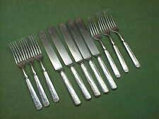 #220 Rogers Brothers MYSTIC Pattern 11 Piece Knives & Forks Art Nouveau Nice