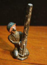 Vintage Metal Toy Lead Soldier With Mortar, Grenade Launcher Figurine, Unmarked