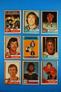 1974-75 OPC classic Lot(27) Orr, Park, Esposito, Bucyk, Redmond, Team Cards, etc