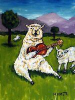 sheep playing guitaar 11x14 musician decor art print impressionist ram lamb