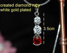 5mm Ruby DIAM0NDS three stone pendant