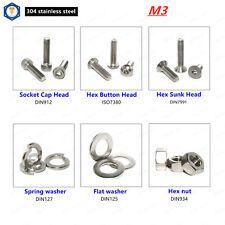 M3 Allen Hex Socket Cap Head,Button Head,Sunk Head Screws Bolt, Washer Nut 304SS