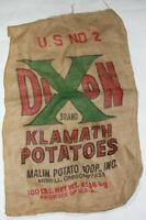 Vintage Dixon Brand Klamath Potatoes Burlap Potato Sack 100LBS U.S No 2 Oregon