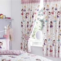 "BALLERINA 66"" x 72"" LINED CURTAINS WITH TIE BACKS GIRLS BEDROOM"