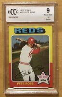 Pete Rose Grade 9 Near Mint Or Better 1975 Topps #320 BCCG