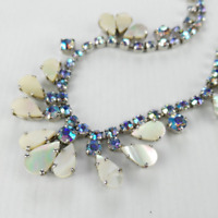 Vintage Rhinestone Necklace - Aurora Borealis Cocktail Jewelry for Bride Women