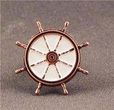 Metal Enamel Pin Badge Brooch Ships Wheel Antique Copper Boat Sailor Captain