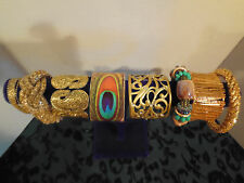 Vtg Boho Hippie Fancy Ornate Wide Gold Tone Cuff Bangle Bracelet Jewelry Lot B11