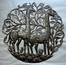 "Giraffes Steel Drum Artists Decor And Furniture Metal Art Home Decor Size 24"""