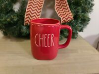 "Rae Dunn Red ""CHEER"" Christmas Coffee Mug with white stitching New Holiday"