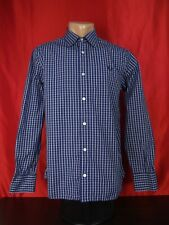 """Fred Perry Mens S Small Shirt Blue Striped Long Sleeves Button Up Check 21"""""""