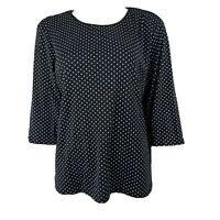 CJ BANKS Black White Polka Dot 3/4 Sleeve Cotton Shirt Top Womens Plus Size 1X