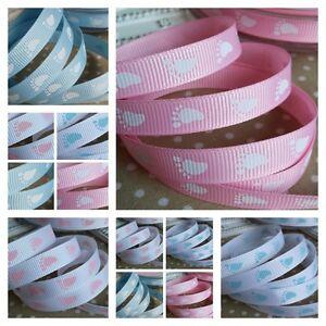 1M x 10mm Pink or Blue baby footprint grosgrain ribbon. Baby shower, Christening