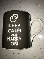 KEEP CALM AND MARRY ON Mug Cup Chalkboard Style by Kent Pottery