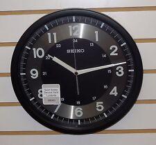 "SEIKO 12"" BLACK WALL CLOCK W/ 24 HOUR OPTION INDICATOR, QUIET SWEEP QXA628KRH"