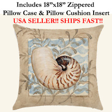"18x18 18"" BEACH SEASHELLS CONCH NAUTICAL MARINE Zippered Pillow Case & Cushion"