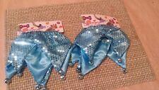 New listing Lot of 2 Pet Clothes Dog Scrunchie Size M/L Blue Sequins With Blue Bells .