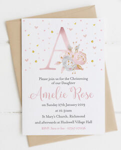 10 Floral Initial Christening/Baptism Invitations Blue/Pink with Envelopes