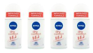 4x Nivea Dry Comfort Anti-perspirant Deodorant Roll On Women 4x 50ml