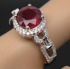 Solid 18K White Gold Genuine Natural VS Diamond Blood Ruby Wedding Ring