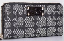 KATE SPADE NEDA BLACK PEBBLED ACE OF SPADES ZIP AROUND WALLET CLUTCH