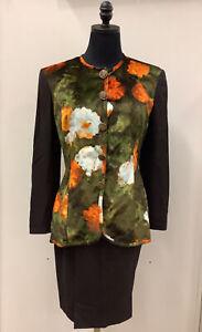 Authentic CHRISTIAN DIOR Boutique Wool & Velvet Blouse/Skirt Suit EuroSz 42 US 8