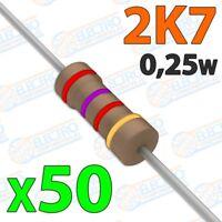 Resistencia 2K7 ohm 0,25w ±5% 300v - Lote 50 unidades - Arduino Electronica DIY