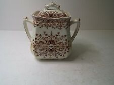 Antique T & R Boote Brown Transferware Sugar Bowl - Tournay Pattern