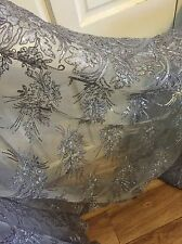 1 MTR GREY SCALLOPED EMBROIDED SEQUENCE CRYSTAL BRIDAL LACE NET FABRIC