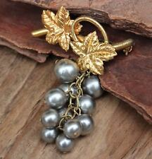 Vintage Brooch Pin Grey 'Grapes' Dangle Drop Costume Jewellery Retro Jewelry
