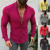 Fashion Mens T Shirt Long Sleeve Linen Shirts Casual Breathable Soft V Neck Tops