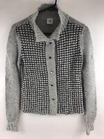CABI Women's XS Gray Black Open Fall Winter Soft Sweater Cardigan
