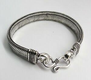 01 Piece Bracelet Bali Snake Silver Chain 10mm wide 18cm, 19cm, 20cm, 21cm Long