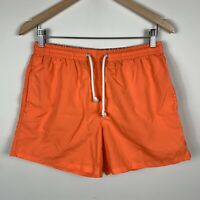 Zara Mens Board Shorts Size Medium Swim Short Orange Elastic Waist With Pockets
