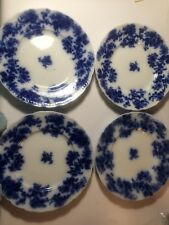 "Antique Flow Blue Lancaster New Wharf Pottery SET Of 4! Plate 9"" MINT England"