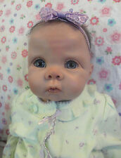 Reborn Chrissy girl doll by Elly Knoops, Adorable Baby! big blue eyes, dark hair
