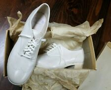 6 B vtg 50s White Leather Sundial Lace-up Oxford Professional Nurse Shoes Nos