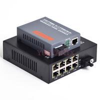 Gigabit Fiber Optic Media Converter 1 CH*SC 8 CH*RJ45 Converter Transceiver