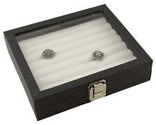 Parte superior de la gama de Madera Caja De Presentación Con Tapa De Vidrio Y Blanco Anillo Insertos De Rodillo