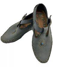 Vtg Loafers Moccasins T Strap Southwest Flats 7.5 Leather Slate Blue Shoes Stone