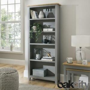 Nebraska Oak Painted Dark Grey Large Bookcase   Tall 5 Storage Shelves