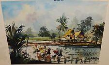 A.B. BATHR VIETNAMESE RICE FIELD ORIGINAL WATERCOLOR PAINTING