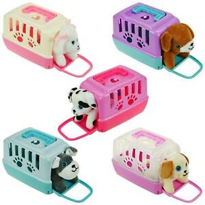 Plastic Pet Carrier Case With Soft Plush Puppy Cute Cuddle Dog Toy Girls Gift
