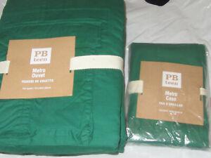 NEW Pottery Barn Teen Metro Cargo Pockets F/Q Duvet & 1 Sham GREEN