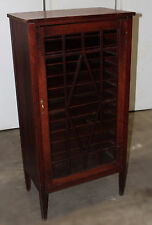Antique Arts & Crafts/Mission Mahogany Music Sheet Storage Cabinet w/Glass Door