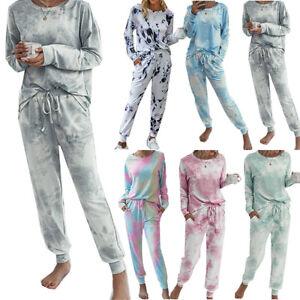 Women Tie Dye Long Sleeve Tracksuit T-Shirt Tops + Sweatpants Set Loungewear